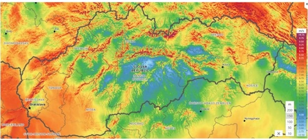 Mapa veternosti Slovensko